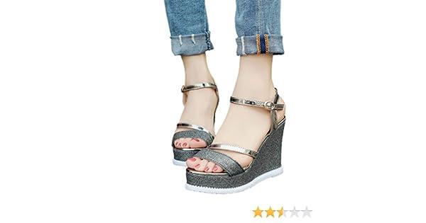 701198ba9a338 Calzado Chancletas Tacones Zapatos de Cuñas de Mujer Sandalias de Verano  Zapatos de Tacón alto con Plataform ❤ Manadlian (Negro
