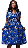 Shenbolen Women Dress Traditional African Dashiki Casual Skirt Party Dresses (Medium, Navy Blue)