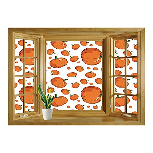 SCOCICI Peel and Stick Fabric Illusion 3D Wall Decal Photo Sticker/Harvest,Halloween Inspired Pattern Vivid Cartoon Style Plump Pumpkins Vegetable Decorative,Orange Green White/Wall Sticker Mural