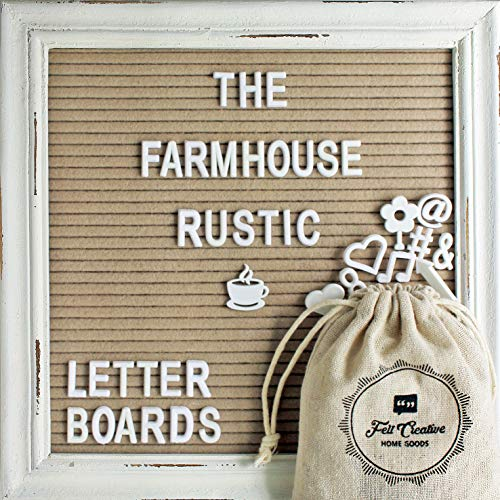 Cappuccino Felt Letter Board with Rustic White Wood Farmhouse Vintage Frame and Stand by Felt Creative Home Goods   10x10 Inch Changeable Message Board Includes 350 White Alphabet Numbers Emojis]()