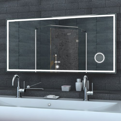 Badezimmerspiegel Wandspiegel Lichtspiegel LED Beleuchtung Uhr ...