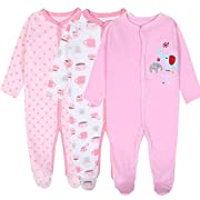 Exemaba 3-Pack Baby Footies Pajamas Girls' Long Sleeve Romper Overall Cotton Sleeper (3-6 Months)