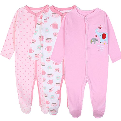 Exemaba 3-Pack Baby Footies Pajamas Girls' Long Sleeve Romper Overall Cotton Sleeper (10-12 Months)