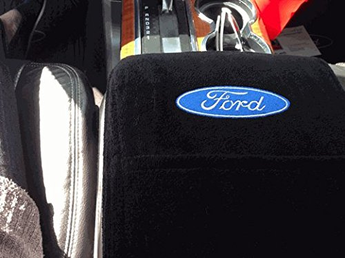 Seat Armour - Officially Licensed Custom Fit BLACK Center Armrest Console Cover with Ford Embroidered Logo For 2011-2016 Ford F-150 Models With JUMP Seats ONLY KAF150JS11-16