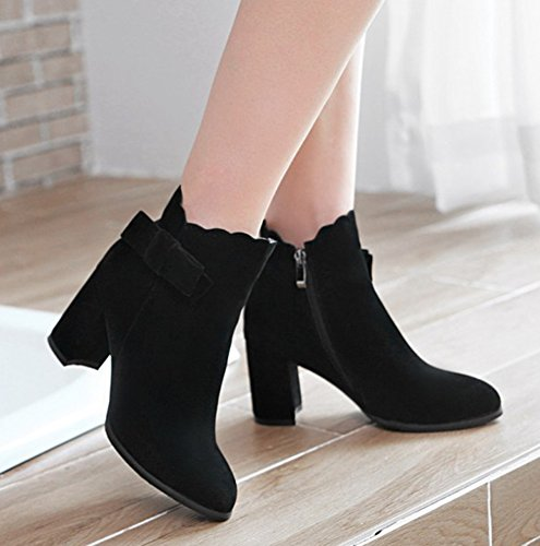 Aisun Womens Fashion Medium Block Heel Booties Dress Inside Zip Up Pointy Toe Ankle Boots With Bows Black