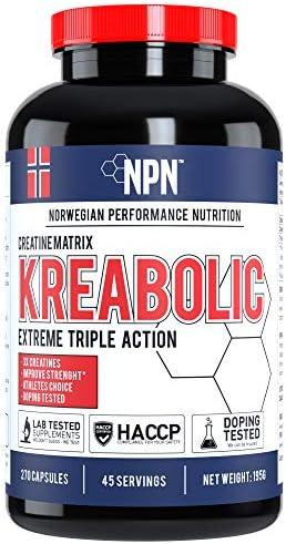 NPN Kreabolic | Dreifache Kreatinmischung für explosive Kraft Muskelkraft und Volumenverstärker | 45 Portionen...