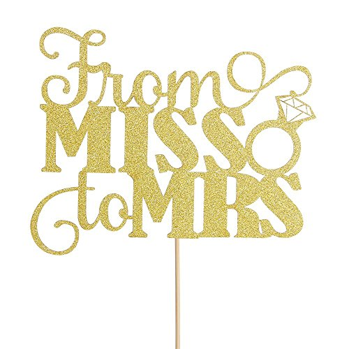 From MISS To MRS Cake Topper Gold Glitter Wedding Bridal Shower Engagement Decorations Supplies Wedding Anniversary Party -