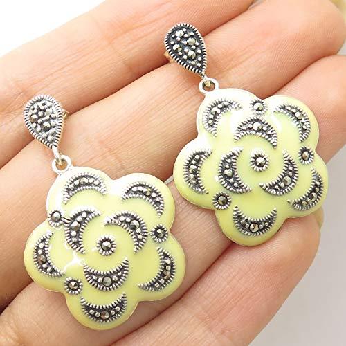 Signed 925 Sterling Silver Yellow Enamel Real Marcasite Gem Floral Drop Earrings - Enamel Earrings Signed