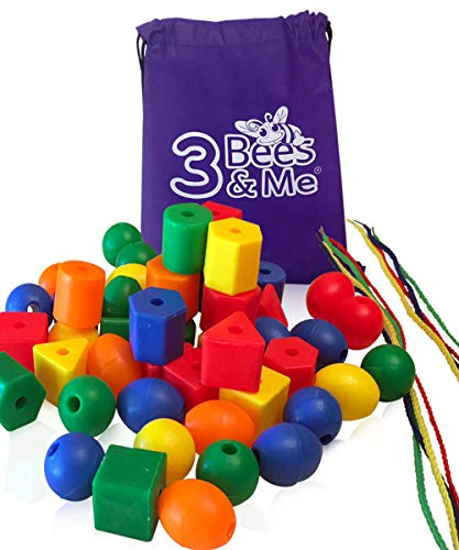 3 Bees & Me Fine Motor Skills Toys - 50 Jumbo Lacing Beads for Toddlers and Kids - Color Sorting Toy