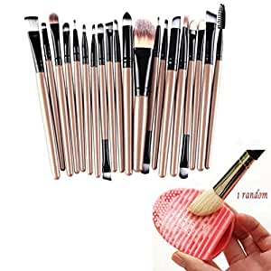 Buytra 20-Piece Makeup Brush Set with 1 Piece Makeup Brush Cleaner Egg Scrubber Board