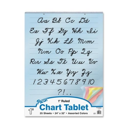Wholesale CASE of 15 - Pacon Cursive Cover Colored Paper Chart Tablet-Colored Paper Charts,Cursive Cover,1