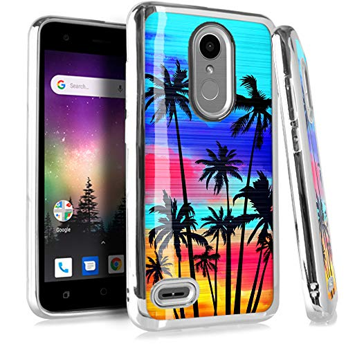 (Compatible LG Aristo LV3   Fortune   Risio 2   K4 K8 (2017)   Phoenix 4 Case Electroplated Chrome TPU Brushed Textured Hybrid Phone Cover (Sunset Palm Tree))