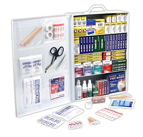 Rapid Care First Aid 80095 4 Shelf OSHA/ANSI First Aid Cabinet, 1110 Pieces Large Industrial First Aid
