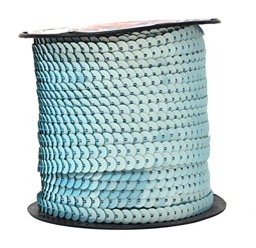 Mandala Crafts 6mm Flat Gold Silver Black Red Blue Trim Paillette Spangle Sequins String Ribbon Roll, 100 Yards (One Regular Roll 100 Yards, Aquamarine)