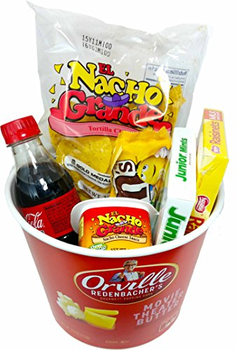Orville Redenbacher's Movie Night Popcorn and Candy Gift Basket ~ Includes Gourmet Movie Theater Butter Popping Corn, Coke, Nachos and Cheese and Concession Stand Candy (Chocolately)