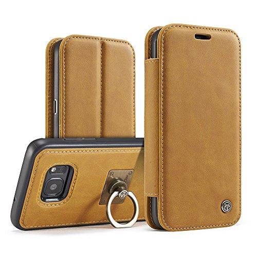 Grandcaser Funda para Samsung Galaxy S7 Edge,Rugged Armor Premium Cuero Protectora Book Style Cover Case Flip Carcasa con Función de Desmontable Anillo Ring Stand - Rojo Amarillo