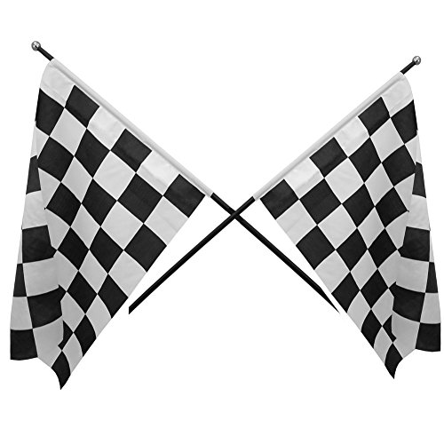 Checkered Black & White Cloth Racing Flags Set 12