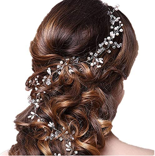 [해외]Kingsie 헤어 액세서리 헤드 드레스 결혼식 웨딩 신부 피로연 진주 액세서리 라인 스톤 크리스탈 카 츄 샤 화장 (0.5 M) / Kingsie Hair Accessories Headdress Wedding Wedding Wedding Reception Pearl Hair Ornament Rhinestone Crystal Katyusha...