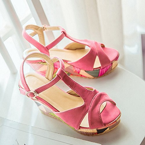 TAOFFEN Women Fashion Slingback Buckle Wedges High Heel Summer Sandals Red dTVETvgI0V