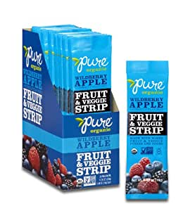 Pure Organic Wildberry Apple Fruit & Veggie Strip, Certified Organic, Gluten-Free, Non-GMO, Vegan, Kosher, Peanut Free, No Artificial Ingredeints, Fruit Snack, 0.49 ounce (Pack of 24)