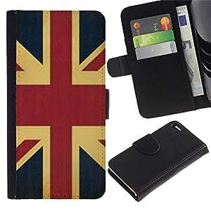 WonderWall Fondo De Pantalla Imagen Diseño Cuero Voltear Ranura Tarjeta Funda Carcasa Cover Skin Case Tapa Para Apple Iphone 4 / 4S - Inglaterra Reino Unido bandera de Reino Unido GB