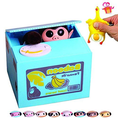(OLICTA Cute Stealing Coin Cat Piggy Bank Dog Mouse Pig Monkey Money Box Panda Bank Case (Monkey))