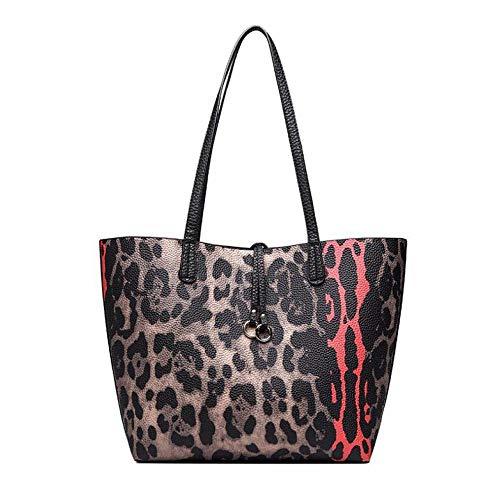 (GMYANDJB Leopard Bag Big Causal Tote Bags for Women Luxury Designer Leather Shopping Female Bag Set Prints Fashion Shoulder Handbags)
