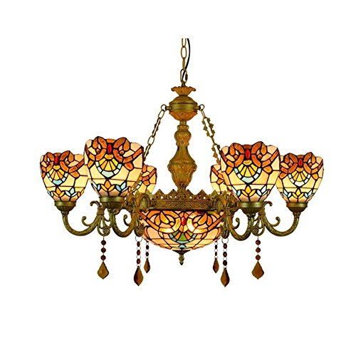 (Multi-head Tiffany Baroque Style Chandelier European Retro Creative Stained Glass Pendant Lights Living Room Bedroom Decorative Crystal Ceiling Lamp E27 (Size : 6-heads))