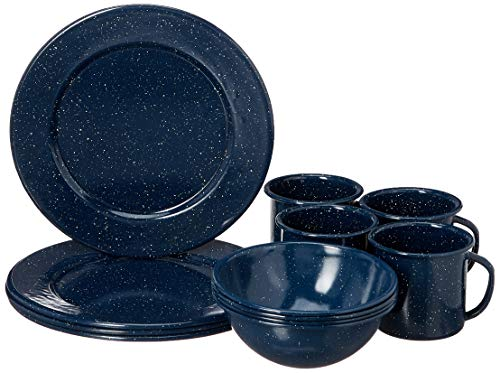 Granite Ware F0320DS-1 Casual Living Porcelain Enameled Steel Dinnerware Set, 12 Piece, Blue