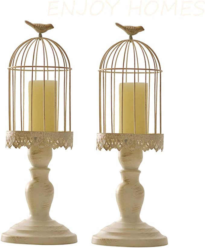 Puerta Vieja Candlestick la Jaula de pájaro de la Vendimia, Ornamentos Decorativos puntales para Las Tablas de Matrimonio para puntales talladas Hierro Forjado,L+L