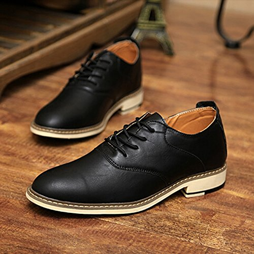 KAKA(TM Men Fashion Design Spring Autumn PU Leather Lace Up Platform Shoes Black 39