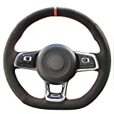 vw golf mk5 steering wheel - Loncky Black Suede Auto Custom steering wheel covers for 2015 2017 Volkswagen VW Jetta GLI /2015-2017 VW Golf R / 2015-2017 VW Golf 7 MK7 GTI