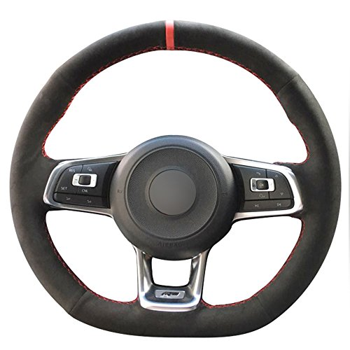 (Loncky Black Suede Auto Custom steering wheel covers for 2015 2017 Volkswagen VW Jetta GLI /2015-2017 VW Golf R / 2015-2017 VW Golf 7 MK7 GTI)