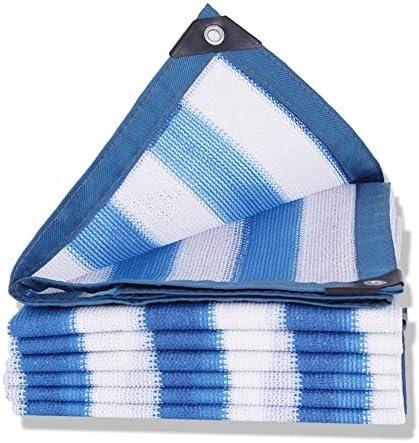 QSTF シェードネット、屋外断熱ガーデンバルコニーの花多肉シェードネット - 青と白(90%シェード) (Color : Blue and white, Size : 6 × 7 M)