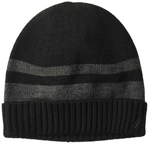 Striped Beanie Cap - Nautica Men's Striped Hat With Ribbed Cuff, Black/Multi, One Size