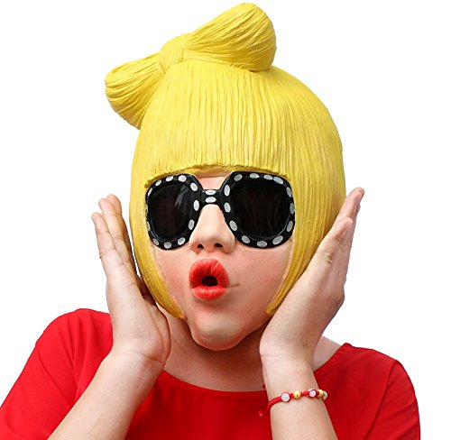 QTMY Latex Rubber Pop Singer Lady Gaga Funny Mask for Halloween Party Costume -