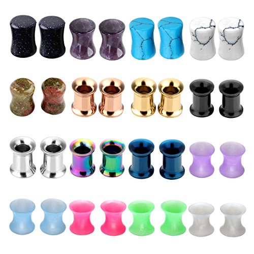 PiercingJ 16 Pairs/32 Pcs Organic Stone Plugs Stainless Steel Screwed Tunnels Thin Silicone Double Flared Flexible Tunnel Set Ear Plugs Saddle Ear Tunnels Ear Gauges Kit Ear Expander Stretcher Set