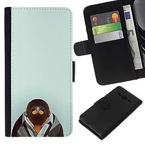 JackGot ( Pingüino en Hipster Traje ) Samsung Galaxy A3 la tarjeta de Crédito Slots PU Funda de cuero Monedero caso cubierta de piel