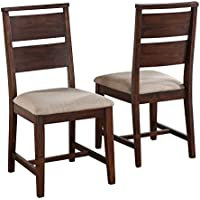 Modus Furniture 7Z4866 Portland Solid Wood Dining Chair, Walnut, 2-Pack