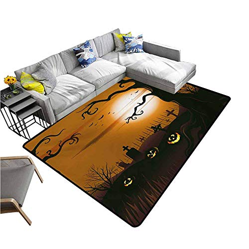 Bath Mat Set Kitchen Door Halloween,Leafless Creepy Tree with Twiggy Branches at Night in Cemetery Graphic Drawing,Brown Tan 80