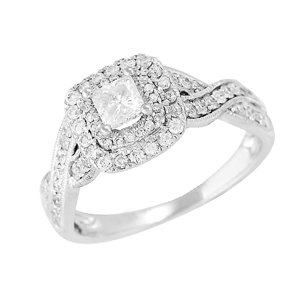 1 TCW プリンセス & ラウンドカット 天然ダイヤモンド 14k ホワイトゴールド ツイスト 婚約指輪 ホワイト 7  B07NJQZNVW