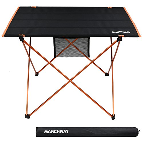 MARCHWAY Lightweight Folding Roll Up Camping Picnic Table, Ultralight Portable Compact for Outdoor Travel, Camp, BBQ, Beach, Tailgate Party, Hiking (Orange, (Nylon Folding Table)