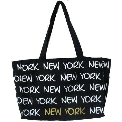 Robin Ruth Black Canvas New York Tote Bag Shopper Beach Travel Souvenir