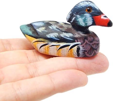 Miniature Hand-Painted Wooden Duck Art Decoy Carved Bird Small Animal Mallard