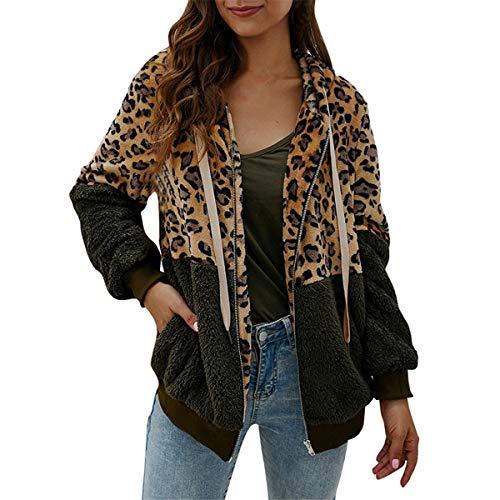 [해외]Thenxin Women`s Warm Hooded Zipper Outtwear Leopard Print Color Block Patchwork Jacket Coat / Thenxin Women`s Warm Hooded Zipper Outtwear Leopard Print Color Block Patchwork Jacket Coat(Army Green,XL)