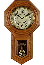 Amazon Com Classic Oak Schoolhouse Regulator Wall Clock