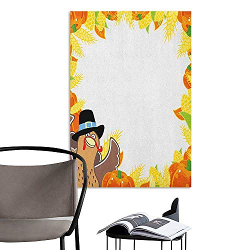 Alexandear Wall Mural Wallpaper Stickers Kids Thanksgiving Fun Cartoon Drawing Corn and Pumpkin Rural Frame Harvest Season Food Multicolor Kitchen Room Wall W32 x -