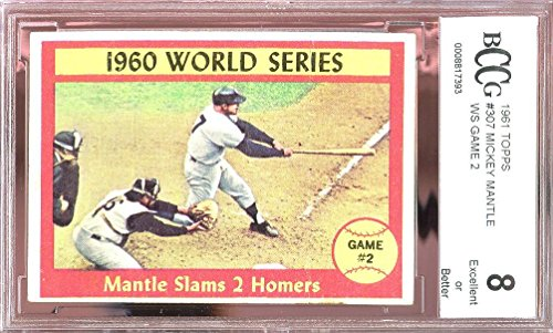 1961 topps #307 MICKEY MANTLE WS GAME 2 new york yankees BGS BCCG 8 Graded Card