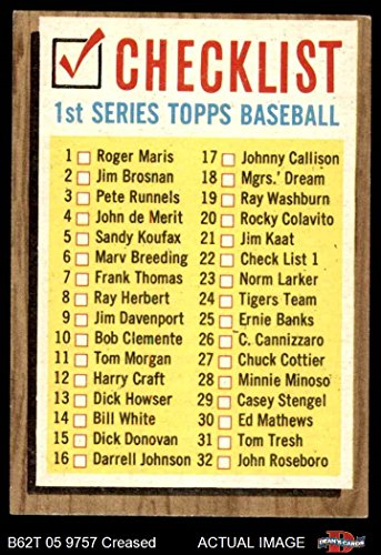 Topps 1962 22 ERR Checklist 1 (Baseball Card) (Lists Cards 121 to 176 on the Back) Dean's Cards 3 - VG