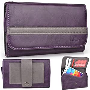 EXXIST® Graphite Series. Faux Leather Clutch / Wallet for Lenovo K800 (Color: Purple / Grey Stripe) -ESMLGPU1